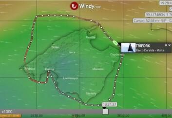 MALLORCA: VO70 hold en snittfart på ca 14 knop rundt øya som er ca 175 nm.