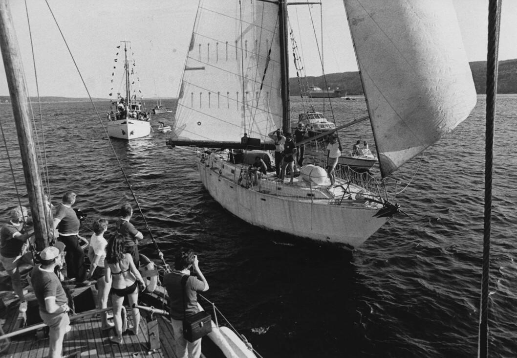 HJEMKOMST: «Preciosa» ankommer hjemmehavnen i Vollen etter en fire år lang seiltur.