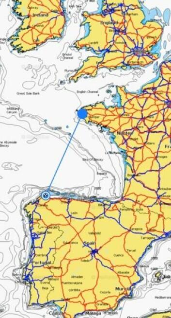 BISCAYA: Oda Pedersen Taule seilte 350 nautiske mil fra nordvest tippen av Frankrike til Nord Spania. Farvannet er beryktet for kraftige stormer.
