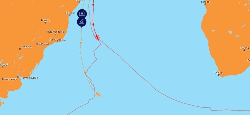 OMVEI: Coville ble presset langt vest på sin vei sydover mot lavtrykkene.