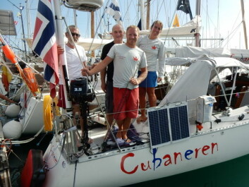 KLARE: Harald Kronstad, Otto Book, Karl Otto Book og Maren Magda Book er nesten klare for å krysse Atlanterhavet.