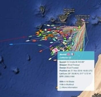 TRACKING: Knuts «Nemo» har havnet i stilla, og er nok ikke der skipperen hadde håpet å være etter ett døgns seiling.