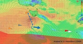 LAVTRYKK: Vinden kan komme opp i 80 knop syd for Tasmania.