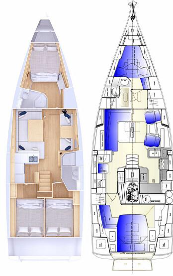 INNREDNING: Grand Soleil 42 har tre lugarer, men Hallberg-Rassy har større eierluager og skikkelig kartbord.