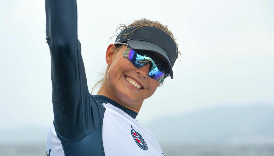 JUBLER: Line Flem Høst har grunn til å juble. I februar tok hun bronse i VM og ble medaljekandidat til OL.