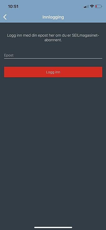 3. Oppgi her den e-postadressen vi har registrert på ditt kundekort. Om du ikke kommer inn, ta kontakt med abo@seilmagasinet.no for å sjekke om vi har din e-postadresse registrert. Når du logger inn slik vil enheten du logger inn på bli registrert og husket. Du kan logge inn på opptil fem ulike enheter (nettbrett/telefon). Dersom du etterhvert har byttet ut enhetene, ta kontakt med oss for å nullstille aktiverte enheter.