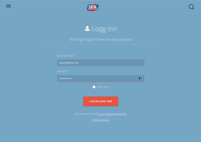 3. Har du opprettet konto her tidligere, logg inn med epost og passord. Hvis ikke, velg registreringslenken under innloggingsknappen.