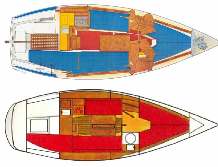 PLANLØSNING: Båtene har lik layout, men Maxi 84 øverst, har mer volum og oppleves større under dekk.