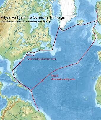 RUTE: «Vilja» vil ta en raskere rute hjem med lengre strekk. Spørsmålet er om det er mulig å besøke Karibia.