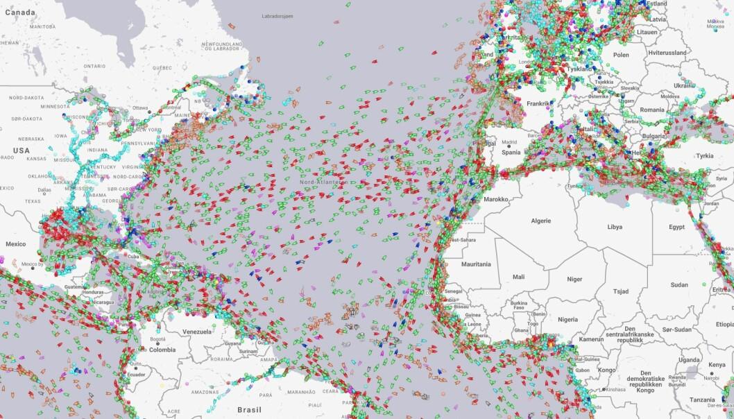 TRAFIKK: Marine Traffic viser skipstrafikken.