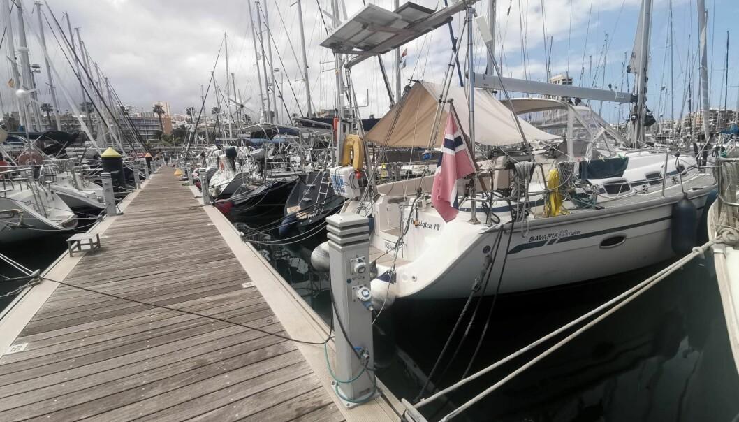 LAS PALMAS: Mange båter, men ikke noe liv i Las Palmas om dagen hvor Steinar Ryvind ligger med sin Bavaria