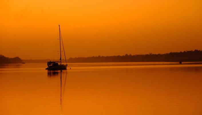 Solnedgang over Paramariboelva, fra vår «utsiktstomt» i to ukers karantene her i Suriname.
