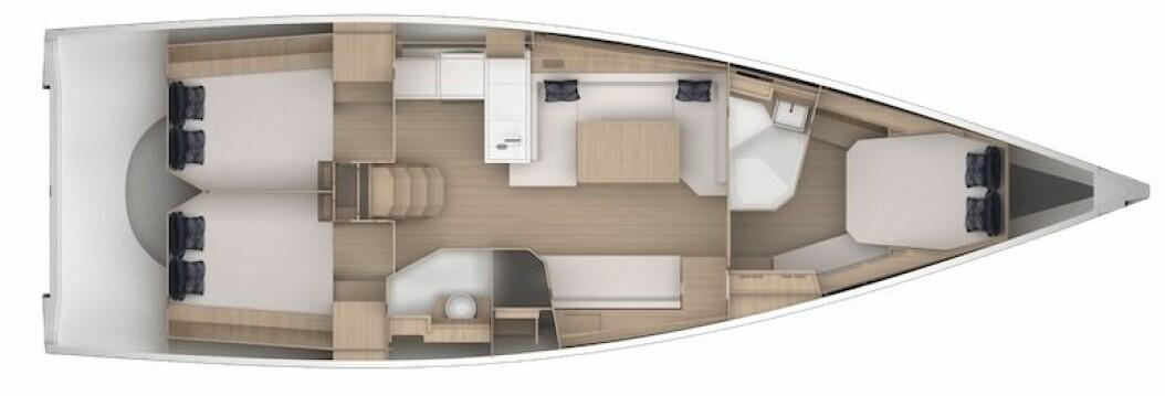 INNREDNING: Grand Soleils nye 44-foter får en typisk planløsning med tre lugarer og to bad.