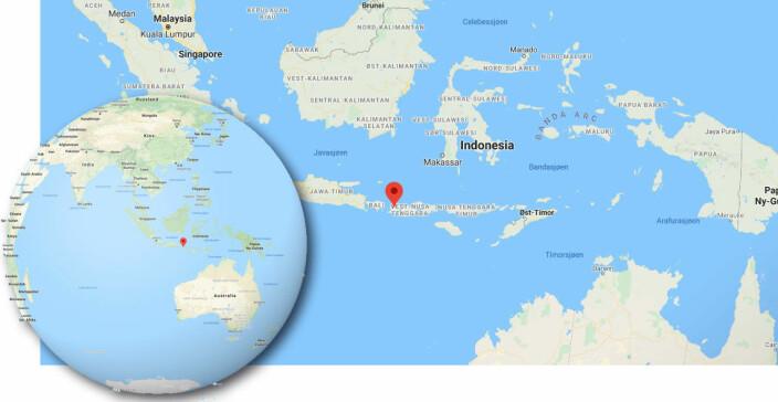 ASIA: «Amanda» befinner seg på sydsiden av øya Lombok i Indonesia.