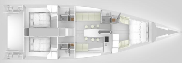 INNREDNING: Båten kan leveres med tre lugarer og tre bad. Salongbordet omslutter kjølkassen.