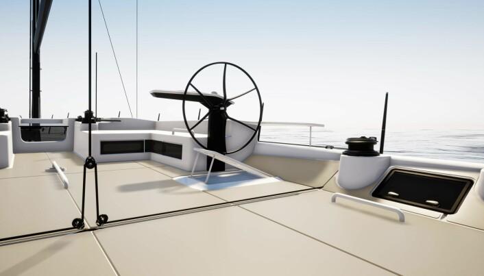 EKSTREM: Cockpiten er stor og åpen, og neppe ideell for tøff havseilas.