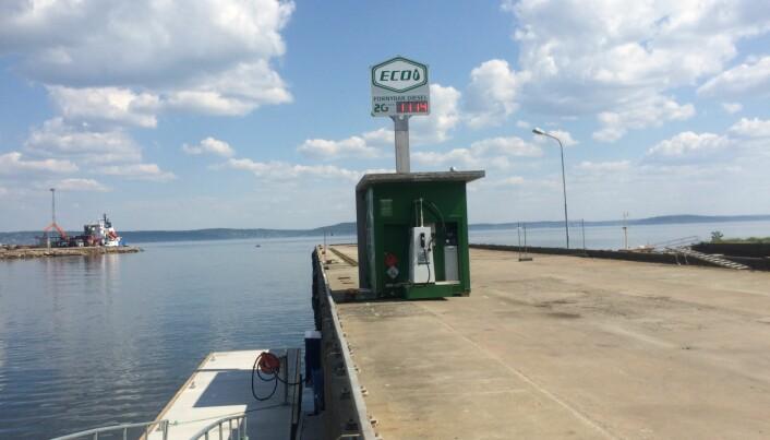 PUMPE: Syntetisk diesel selges fra brygga på Tofte i Hurum.