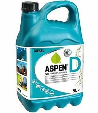 KANNER: Aspen selger syntetisk diesel på kanner av ulik størrelse.