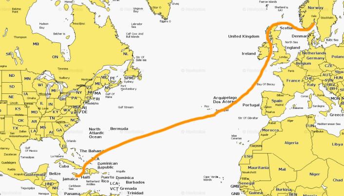 STREKK: Turen fra Jamaica til Norge er på over 4700 nm.
