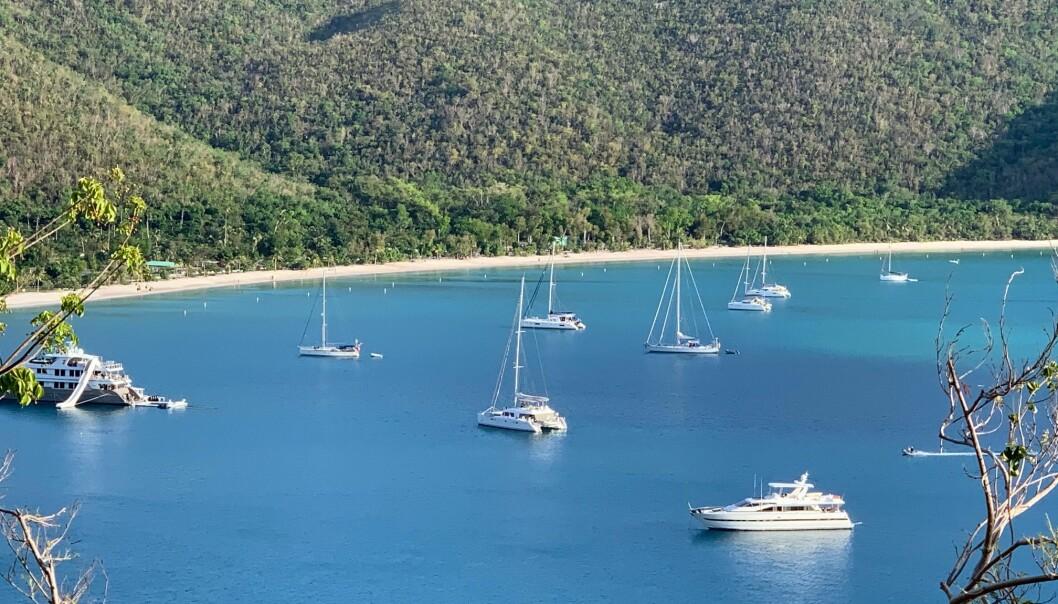 Ankringsplass i Magens Bay på St Thomas. Vilja er seilbåten til venstre på bildet.