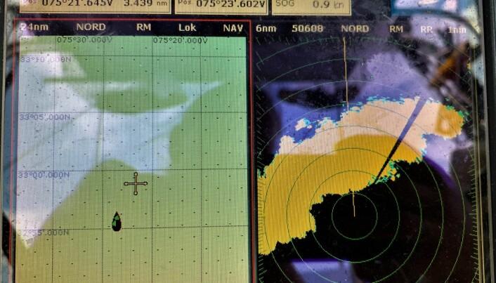 Ingen tvil om at radaren virker! Uværet kom fort. Slående at en halvtime før dette bildet ble tatt så var skjermen helsvart og Jon Petter måtte ta en avsjekk på at radaren faktisk var i orden!