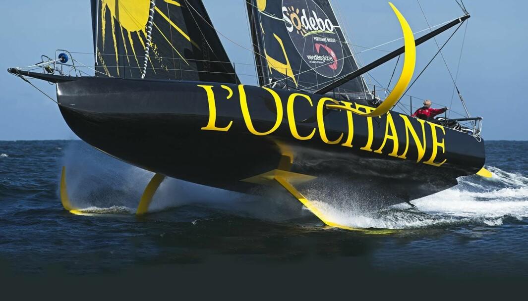 SKADET: «L'Occitane» fikk hull i baugen etter å ha seilt på noe under trening.