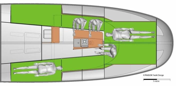 VOLUM: 21-foteren er tre meter bred, nesten hele veien. Det gir mye plass under dekk.