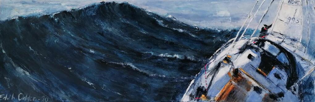 MALERI: Eriks mor, Edith Odden, har malt sin sønn «in action» ute på havet.