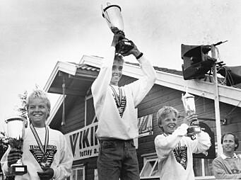 I 1987: Jon Eriksen vant Optimist-jolle-NM i 1987 foran Jon Ekheim og Simen Doksrød.