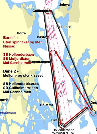 BANE: De store båtene seiler 40 nm, mens de mindre seiler 30 nm.