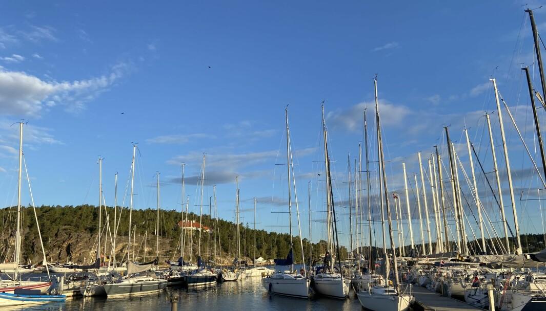 HANKØ: Lunt på Hankø Yacht Club, men gammel sjø og frisk vind ute ved startområdet.