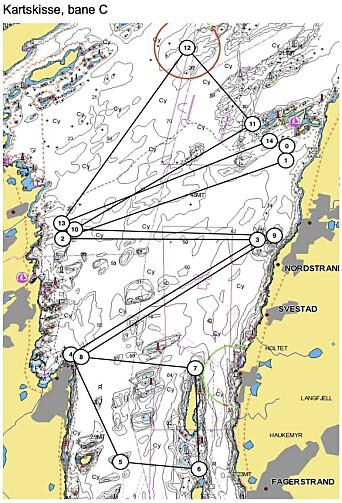 PÅ KRYSS OG TVERS: Deltagerne i shorthanded-NM har alle muligheter til å bli godt kjent i Oslofjorden. Dette er et banealternativ på 28 nautiske mil.