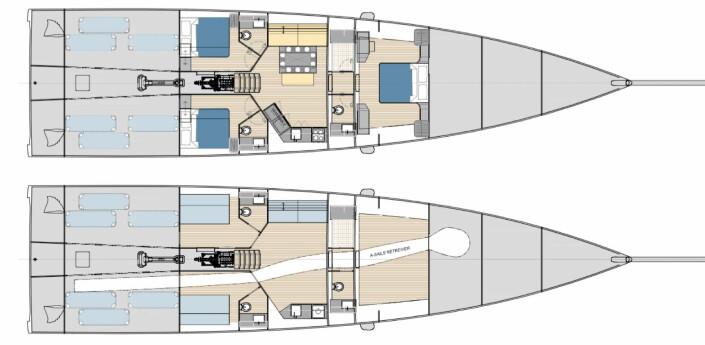 INNREDNING: 80-foteren får tre lugarer med tre bad. Innredningen kan fjernes for regatta.