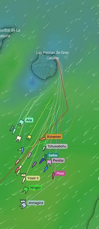 SPREDNING: Det er store fartsforskjeller på båtene i feltet.