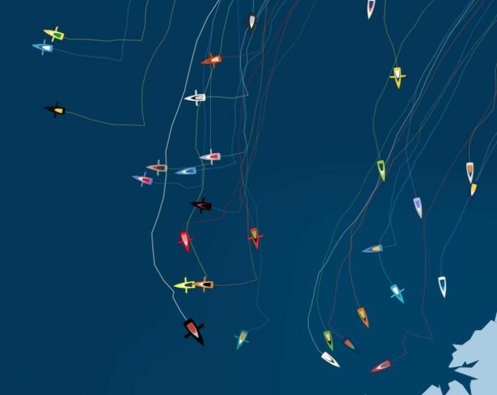 PLASSERING: Charal er på vei sydøstover, mens L'Occitane, Linked Out og Bureau Vallée 2 er lengst vest. Båtene uten foiler har samlet seg nær kysten av Nord Spania.