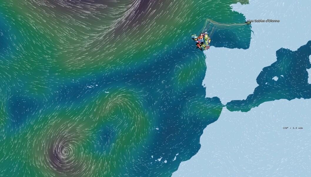 48 TIMER: Feltet blir fanget mellom to lavtrykk. Det gir et håp for dem som velger å seile sydover langs Portugal.