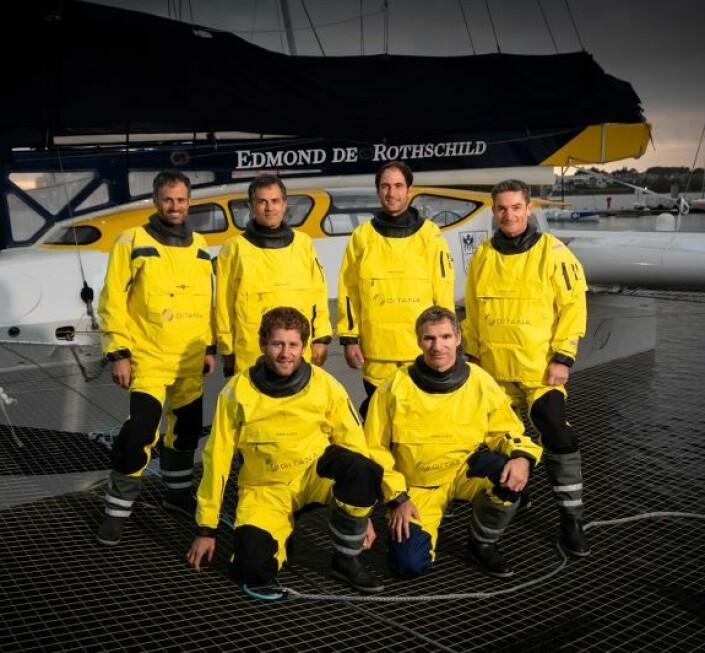 KLARE: Franck Cammas, Charles Caudrelier, Morgan Lagravière, Yann Riou, Erwan Israël og David Boileau
