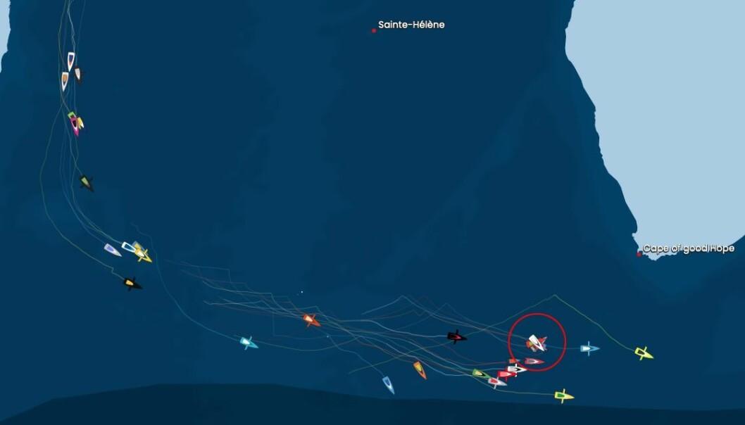 POSISJON: Hendelsen skjedde 840 nm sydvest av Cape Town.