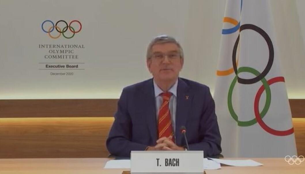 IOC president Thomas Bach på pressekonferanse 7. november 2020