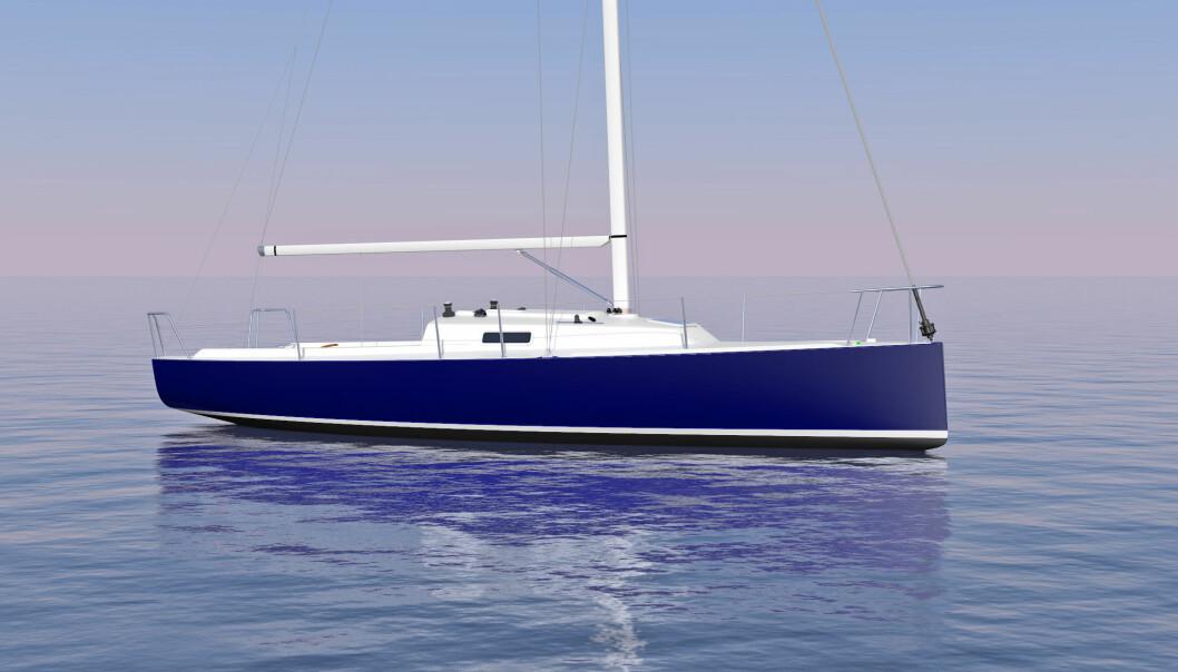 DAGSEILER: J/9 får et lettdrevet skrog på 28 fot. Båten kan leveres med fast baugspryd og elmotor.