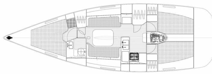 PLANLØSNING: Linjett 39 får en tradisjonell innredning med tre lugarer og to bad.