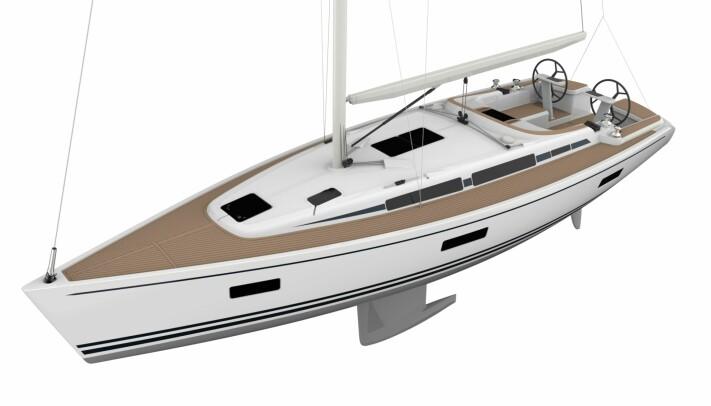DESIGN: Linjett 39 får klassisk styling med blå striper. Båten har godt med lysinnslipp. Løygangen er på hyttedekk.