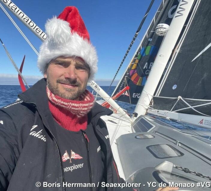 TREDJE: Boris Herrmann har seilt seg opp på podiumplass. Han vil gå tom for mat før han er i mål.