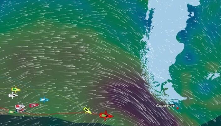 PROGNOSE: Yannicke Besthaven ligger 500 nm øst for Kapp Horn. 2. januar vil både han og et lavtrykk passere punktet.