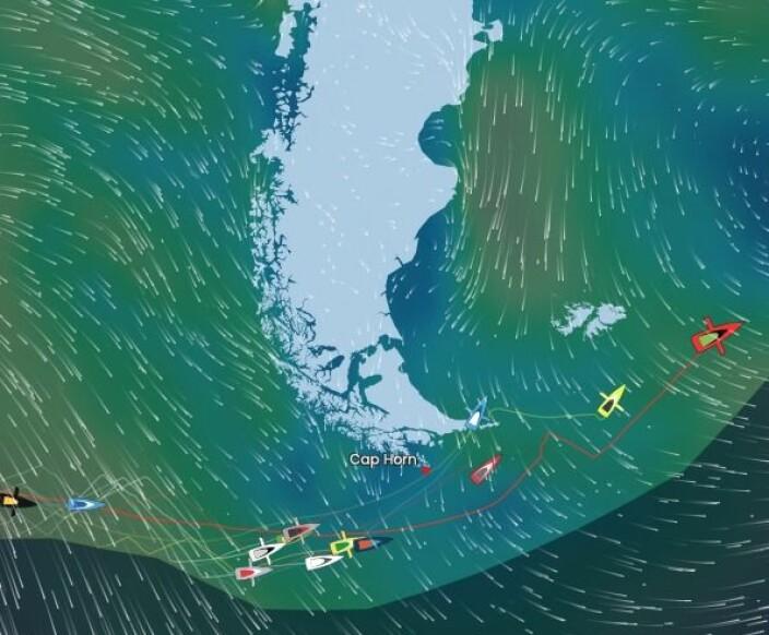 KRYSS: Om to døgn får Vendee Globe-seilerne kryss nordover.