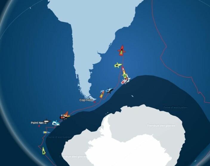 NORDOVER: 14 båter har rundet Kapp Horn og er på vei mot mål.