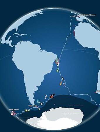 NORDOVER: Båtene i tet har 3800 nm til mål, men må gjennom to hindre.
