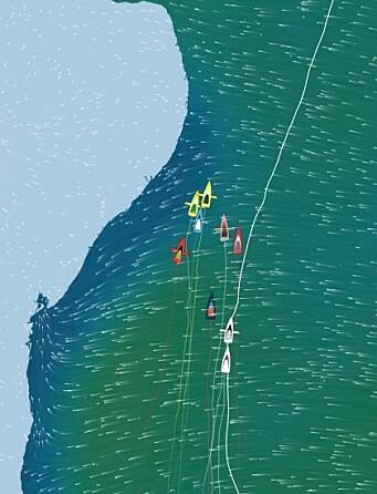 SLØR: Feltet i tet er tett, og båtfart vil avgjøre posisjonen de neste dagene.