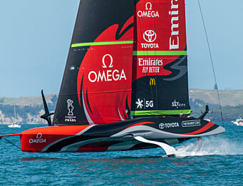 Emirates Team New Zealand racing during Race 1 of the PRADA Christmas Race. Te Rehutai