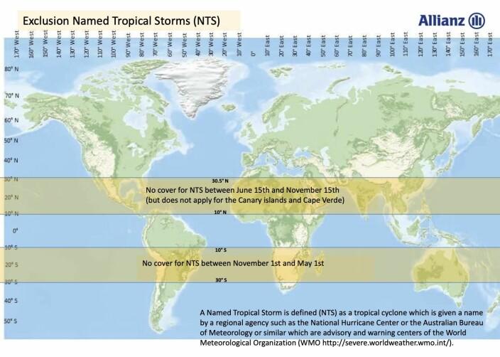 STORMBELTER: Allianz og Maritim Forsikring dekker ikke skader påført av navngitte stormer i markert belte.